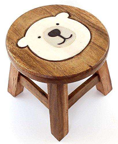 木製 ラウンドスツール (クマ/シロクマ) (シロクマ)