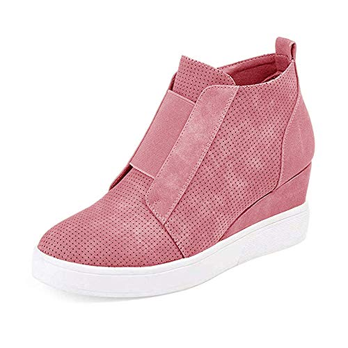 LAICIGO Womens Wedge Platform Sneakers Ankle Booties Heel Zipper Faux Leather Comfort Casual Shoes