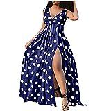 ASDVB Vestido sexy para mujer con cuello en V, estampado de lunares, cintura alta, sin mangas, para la playa o la noche. azul XXL