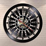 TJIAXU Casino Reloj de Pared Gamble Room Sign Decoración de Pared Disco de Vinilo Reloj de Pared Las Vegas 777 Juego de póquer Naipes Ruleta Reloj Reloj