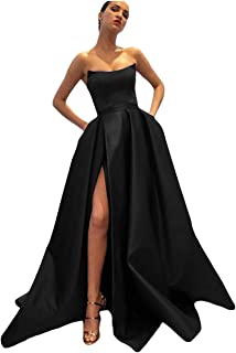 Dymaisei Women's Strapless A-line Satin Prom Dresses Long Split Evening Formal Dress with Pockets