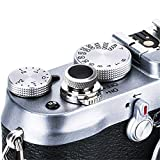 JJC Soft Camera Shutter Release Button Cap for Fuji Fujifilm X-T4 X-T3 X-T2 X-T30 X-T20 X-T10 X-Pro3 X-Pro2 X-Pro1 X100V X100F X100T X100S X-E3 for Sony RX10 IV III II RX1RII RX1R RX1 / Silver Black
