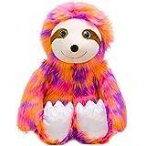 Rainbow Sloth Plush Bradypode Dolls, Lifelike Three Toed Sloth Stuffed Animals Toy Madagascar Sloth Plushie Soft Hugging Pillow Decor Gifts, 21.7''