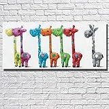 Handgemalte Ölgemälde Kunstwerk Auf Leinwand, Großes Pop Abstraktes Tier 7 Bunte Esel Wandkunst Bilder Für Raumdekoration Kinderzimmer Zoo, 40 × 80 cm (15 × 31 Zoll)