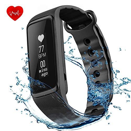 OMorc IP68 Fitness Tracker con Cardiofrequenzimetro, Weloop Braccialetto Sport Bluetooth 4.0 Impermeabile Activity Tracker Contapassi, Sonno Monitoraggio, Monitoraggio Calorie, Notifiche Chiamate, Compatibile per iOS 8.0 o Superiore, Android 4.4 o Sopra, Nero