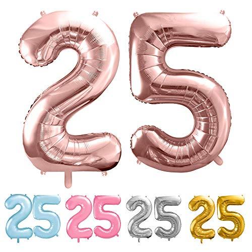 balloonfantasy Partyboutique Balloon Fantasy Zahlen Luftballon Set XXL / Luftballons Geburtstag / Ballon Zahlen (Roségold, 25)