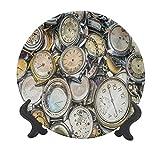 Orologio 25,4 cm piatto decorativo in ceramica, tema antico, un mucchio di diversi orologi in stile vintage, design retrò, decorazione da parete in ceramica, accessorio per cene, feste, matrimoni