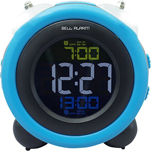 大音量 ベル デジタル アラーム クロック 目覚まし時計 (LEDバックライト、複数設定 、スヌーズ 機能付き)ブルー MEC-16BL