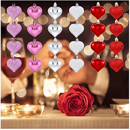 24 Pieces Valentine's Day Glitter Shiny Heart Shaped Ornaments Tree Baubles Heart Ornament for Valentines Holidays Decoration