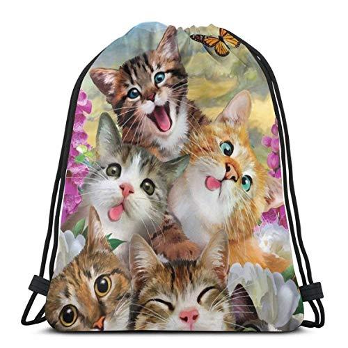 AEMAPE Drawstring Bags Cat Flower Butterfly Backpack Pull String Bags Bulk Sports Storage Gym For Girls Large Traveling Rucksack 36x43 cm