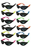 Edge I-Wear 12 Pack School Kids Neon Sunglasses for 80's Style Party Sunglasses Sport Party Favors 9446R-SET-12