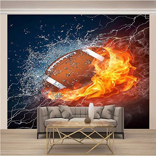 JKM Wallpaper 3D Selbstklebender Wandplakat Vliesstoff Wandgemälde Mehrfachgröße Cool Flamme Sport Rugby Tapete Wandmalerei Wandkunst Selbstklebende Wandbild Essen Und Trinken Coffee Wanddekoration Fo