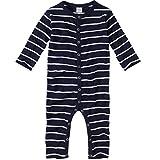WELLYOU, Pijamas, Pijamas para niños y niñas, una Pieza de Manga Larga, niños pequeños, Azul Marino con Rayas Blancas. 100% algodón. Tallas 56-134 (116-122)