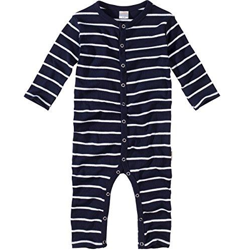 WELLYOU, Pijamas, Pijamas para niños y niñas, una Pieza de Manga Larga, niños pequeños, Azul Marino con Rayas Blancas. 100% algodón. Tallas 56-134 (56-62)