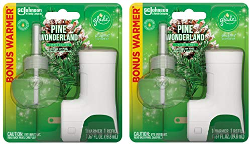 Glade Plugins Scented Oil Refill - Pine Wonderland - 1 Count Refill & 1 Count Oil Warmer Per Package - Pack of 2 Packages