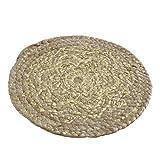 Juego de 4 manteles individuales redondos con diseño de mandala, dorados, naturales, de yute D30 cm