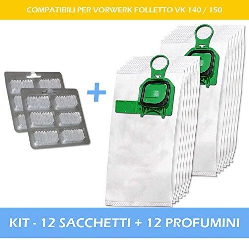 PREMIUM - SUPER KIT - 12 PROFUMINI + 12 SACCHETTI PER ASPIRAPOLVERE VORWERK FOLLETTO VK 140 / 150 - Garanzia 24 Mesi Filterprofi