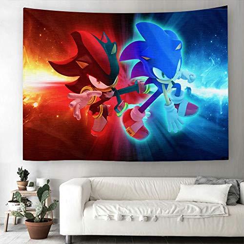 BHOMLY Tapiz 3D Sonic el erizo para colgar en la pared, para Halloween, decoración del hogar, toalla de playa, manta de picnic, manta de yoga, cubierta de televisión, tela de fondo (150 x 100 cm)