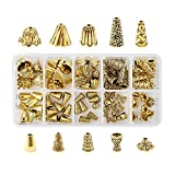 Cheriswely, 80 tappi in lega per perline a forma di fiore, 10 stili tibetani con nappe, terminali distanziatori per gioielli in oro antico