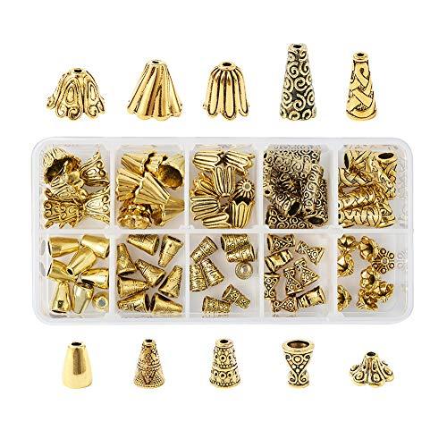 Beadthoven - 80 unidades, estilo tibetano, aleación de abalorios, espaciadores, 10 estilos, oro antiguo, para fabricación de joyas