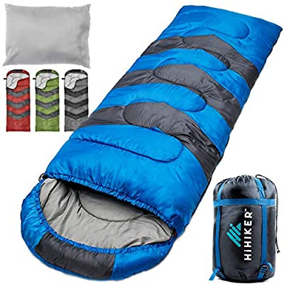 HiHiker Camping Sleeping Bag + Travel Pillow w/Compact Compression Sack – 4 Season Sleeping Bag for Adults & Kids – Lightweight Warm and Washable, for Hiking Traveling & Outdoor Activities (Blue)