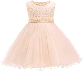 XFentech Baby Dressing Gown - Newborn Girls Sleeveless Pearls Beading Pageant Communion Party Tutu Dresses,Champagne,12M(7-12 Months)