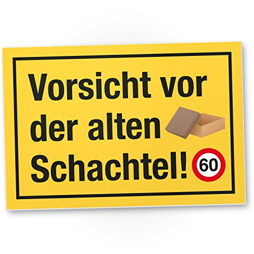 DankeDir! 60 Jahre Vorsicht Alte Schachtel Kunststoff Schild - Geschenk 60. Geburtstag Geschenkidee Geburtstagsgeschenk Sechzigsten Geburtstagsdeko Partydeko Party Zubehör Geburtstagskarte