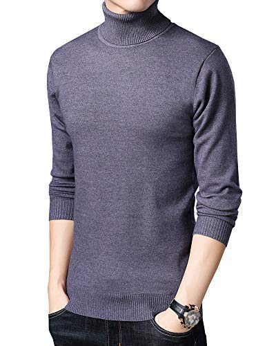 WDREAM Turtleneck Jumper Mens Loose Fit Knitted Pullover Roll Neck Sweater Solid Color Dark Grey M