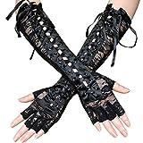 Nihsatin Sexy Elbow Length Fingerless Satin Gloves Ribbon Lace Up Steampunk Costume Arm Warmer
