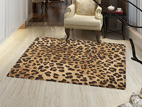 Leopard Print Door Mat indoors Skin Pattern of a Wild African Safari Animal Powerful Panthera Big Cat Customize Bath Mat with Non Slip Backing Pale Brown Black