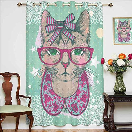 Cortina de puerta corredera con diseño de gato en gafas hipster y lazo de encaje vintage con ojales gráficos humorísticos, panel individual de 160 x 114 cm, para sala de estar, rosa, verde menta