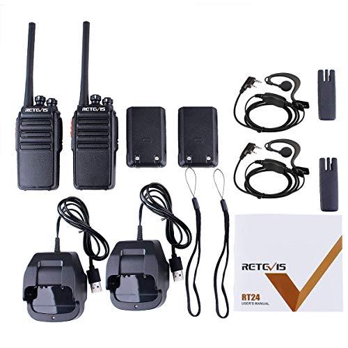 Retevis RT24 Walkie Talkie Recargable PMR446 sin Licencia 16 Canales CTCSS DCS Walkies Profesionales con Cargador USB y Auriculars (Negro,2 Pares)