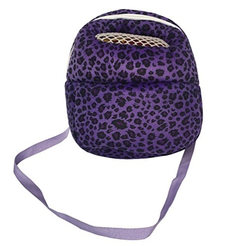 Leeotia Small Pet Carrier Bag Animal Outgoing Bag with Shoulder Strap Portable Travel Handbag Backpack for Hedgehog Hamster Mouse Rat Sugar Glider Squirrel Chinchilla Rabbit (Large, Purple)