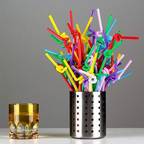 AISE Pajitas de plástico, 100 Piezas Pajitas de Bricolaje Tubo de Bebida de Jugo de Paja de Doble Codo Flexible, Paja Flexible de Rayas largas y Multicolores para cumpleaños Boda Baby Shower