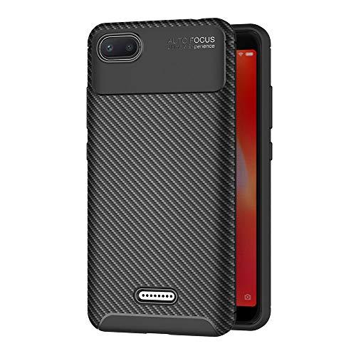 AICEK Compatible Xiaomi Redmi 6A Hülle, Schwarz Silikon Handyhülle für Redmi 6A Schutzhülle Karbon Optik Soft Case (5,45 Zoll)