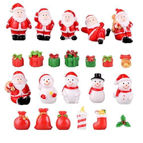 Amosfun - 23 decorazioni natalizie in miniatura in resina, Babbo Natale, pupazzo di neve, statuette da giardino e bambole, decorazione per la casa, per feste in stile misto