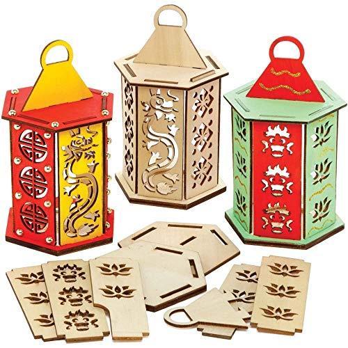 Baker Ross AX861 Kits de lanternes chinoises - Paquet de 3, pour que les enfants peignent, décorent et exposent pour les célébrations du Nouvel An chinois