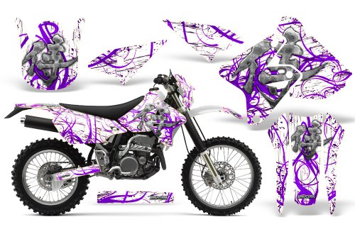 CreatorX Graphics Kit Decals Stickers for Suzuki Drz400 Drz400S Z400 E Samurai Purple White Incl. Number Plate Graphics