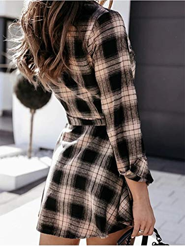 IDEALSANXUN Womens Casual Button Down Plaid Shirt Mini Dress(Khaki, M)