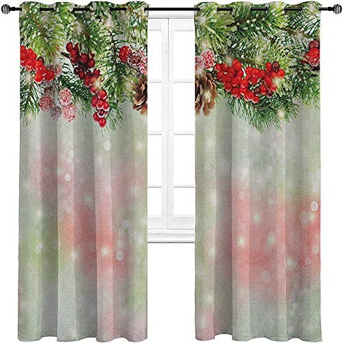 carmaxshome Curtains Blackout 96 inch Length, Christmas Customized Drapes Panels - Evergreen Fir Branches with Red Ripe Holly Berries Blurred Backdrop Garland Each 42' x 96', Red Green Brown