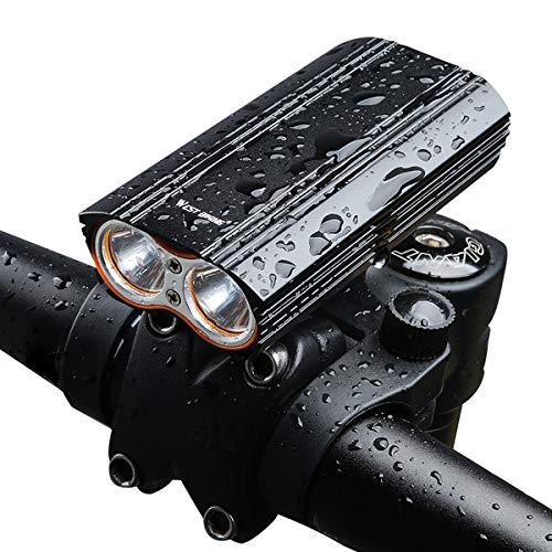 CLOUDH Fahrradlicht USB Wiederaufladbare Vorne Fahrradbeleuchtung, 2000 Lumens Fahrradbeleuchtung, IP65 Wasserdicht Fahrradlampe Frontlicht, Für Mountainbike Und Camping