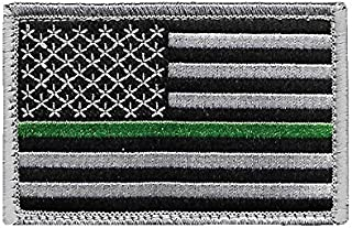 US Flag Thin Green Line Patch for Park Rangers, US Border Patrol, and Environment Services Personnel with Hook/Loop Backing
