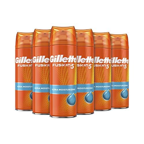 Gillette Fusion5 Ultra Hidratante Gel de Afeitar Deja la Piel Suave y Tersa 200 ml - Pack de 6