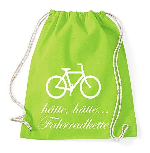 Hätte Hätte Fahrradkette Gym Bag Turnbeutel Rucksack Sport Hipster Style in 8 Farben, Farbe:Lime Green
