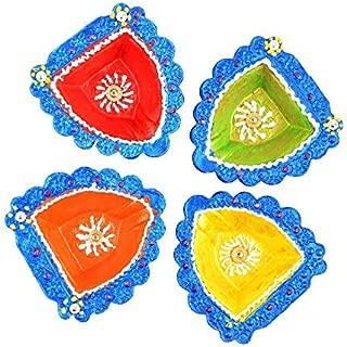 storeindya Diwali Diya Decorations Set of 4 Handmade Decorative Clay Festive Decor Oil Lamps Candle Tea Light Holder Multicolor Terracotta Clay Indoor Floor Lighting Accessories