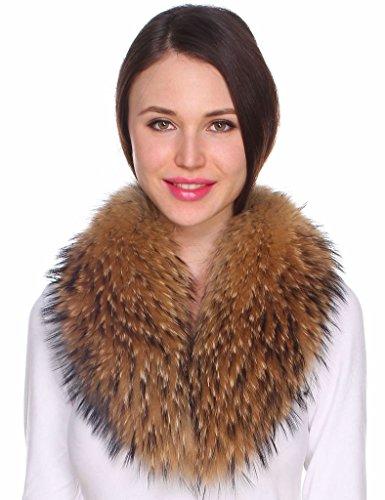 Ferand - Bufanda Cuello de Piel de Mapache Auténtica Desmontable para Abrigo Chaqueta Chaleco Parka de Mujer en Color Natural Oscuro