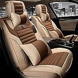 5 Car Seat Covers Set Completo, Protectores De Asiento De Coche, El 100% Transpirable Con Compuesto Esponja Dentro, Airbag Compatible, Con Apoyo Para La Cabeza Y La Cintura Almohada,Coffee color