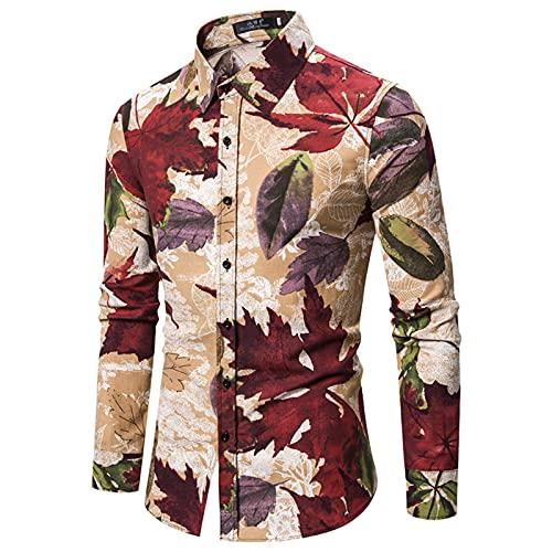 SSBZYES Camisas De Hombre Camisas De Manga Larga De Hombre Camisas De Manga Larga De Tamaño Europeo De Hombre Camisas De Algodón Y Lino con Flores Camisetas De Manga Larga Tops Casuales De Hombre