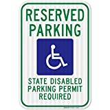 Washington Handicap Parking Sign, State Disabled Parking Permit Required, Large 12x18 3M Reflective (EGP) Heavy .63 Aluminum, Weather/Fade Resistant, Indoor/Outdoor Use, Made in USA by SIGO SIGNS