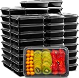 Ez Prepa [40 Pack] 28oz Single 1 Compartment Meal Prep Containers with Lids - Food Storage Containers Bento Box, Lunch Containers, Microwavable, Freezer, and Dishwasher Safe, Food Containers